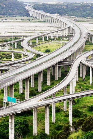 junction: Architecture of highway construction with beautiful curves in daytime in Taiwan, Asia. Stock Photo