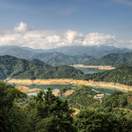 Landscape of lake in mountains with small building in Taiwan. Stock Photo - 7805192
