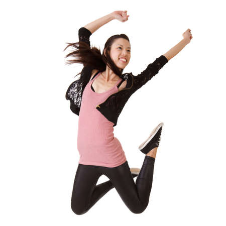 Girl jumping with happy expression, isolated on white. Stock Photo - 7805213