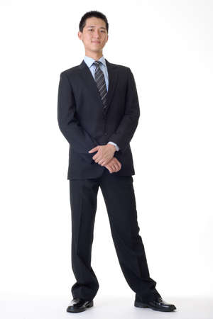 business suit: Handsome business man of Asian, full length portrait. Stock Photo