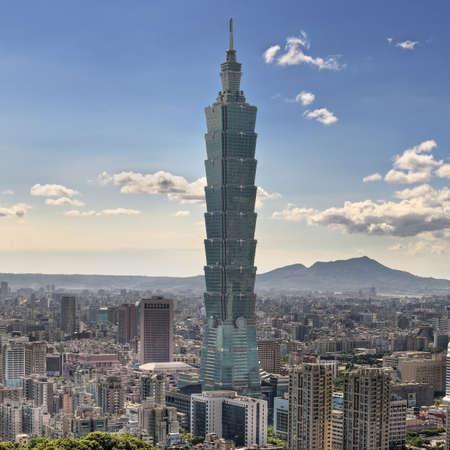 Skyscraper in Taipei, cityscape in day in Taiwan.