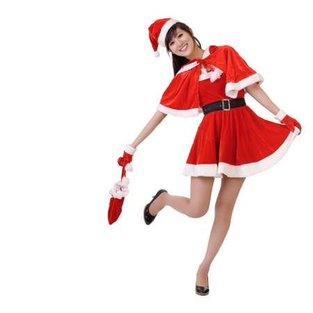 mrs  santa: Happy smiling lady of Asian in Santa Claus clothes, full length portrait isolated on white.