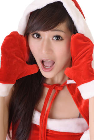 Attractive Christmas lady of Asian with surprised expression. photo
