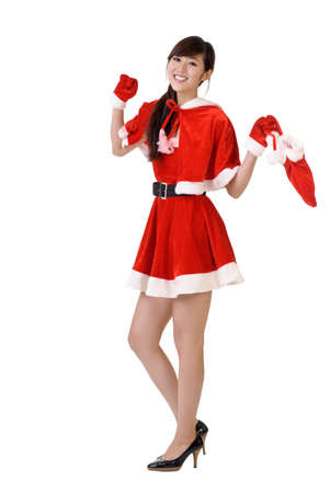 Cheerful Christmas woman dancing, full length portrait isolated on white. Stock Photo - 7943403