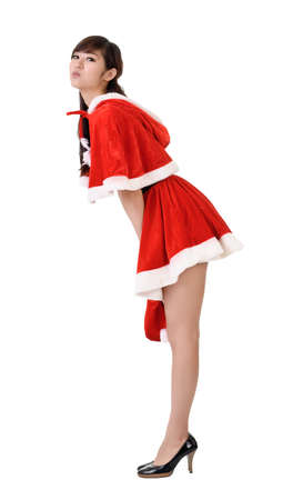mrs  santa: Sexy and cute Christmas lady of Asian pose, full length portrait isolated on white. Stock Photo