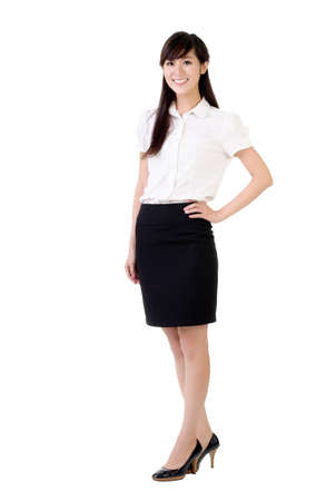 Business woman of Asian smiling, full length portrait isolated on white. photo