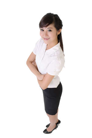 Success business woman with confident expression against white. photo