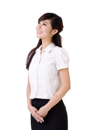 loin: Friendly business woman with smiling face looking far against white.