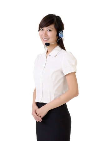 Asian customer service portrait with smiling expression against white background.