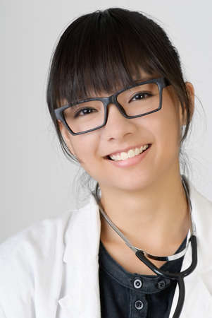 Chinese doctor of female with smiling face.