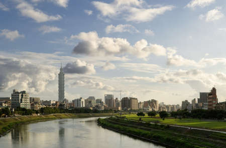 City scenery with river in Taipei with famous 101 skyscraper landmark building in Taiwan. photo