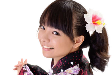 Happy japanese girl with smiling face, closeup portrait on white background. Stock Photo - 8068353