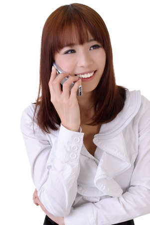 Happy business woman talking with smiling expression. photo
