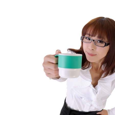 Young business woman share cup of coffee with copyspace on white. photo