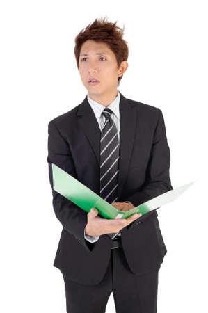 incensed: Angry executive looking somebody after reading paper.