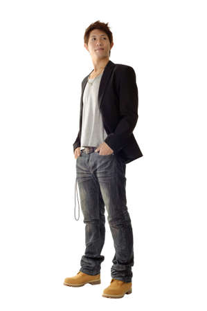 ropa casual: Joven empresario con ropa casual y seguros de expresi�n en la cara.  Foto de archivo