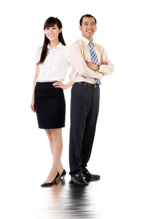 eastern asian: Asian business man and woman, full length portrait over white background.