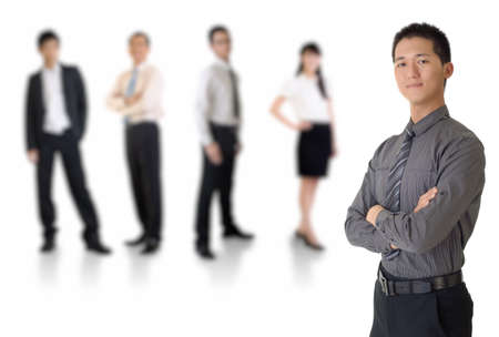 Young business man with his team over white background. Stock Photo - 8138487