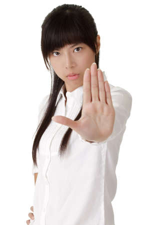 reject: Business woman reject you with confident expression. Stock Photo