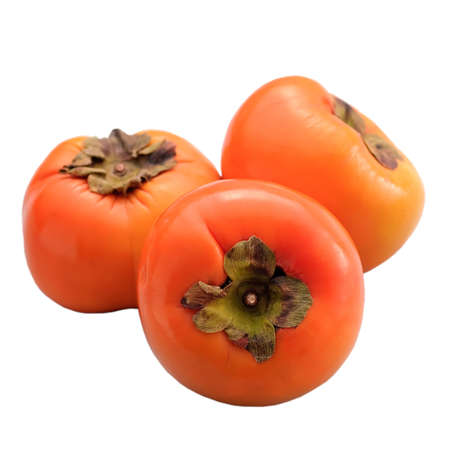 persimmons: Persimmons, groups of orange color fruit isolated on white background.