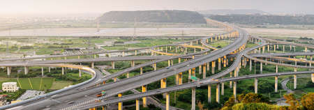 taiwan scenery: City scenery of transport buildings with highway and interchange, panoramic cityscape in day in Taiwan, Asia.
