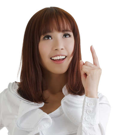 to think: Attractive Asian business woman thinking and smiling on white. Stock Photo