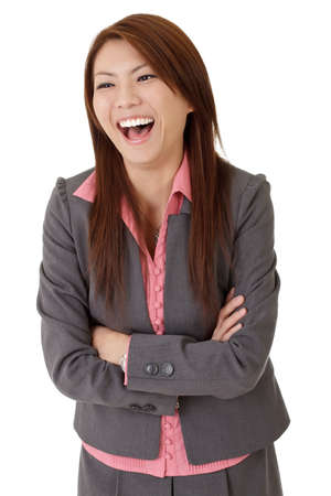 Happy smiling business woman of Asian, closeup portrait over white. Stock Photo - 8285527