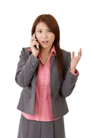 Closeup portrait of surprised business woman with cellphone over white background. Stock Photo - 8285583