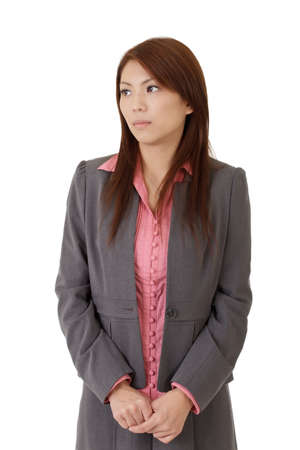 Lonely business woman of Asian over white background. Stock Photo - 8285591