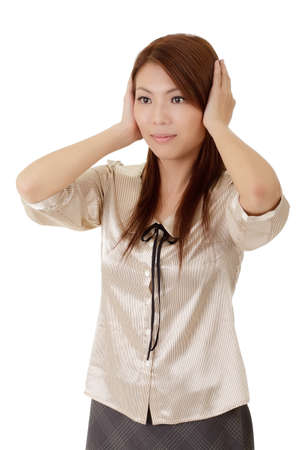 Business woman put hands on ears not listen voice over white. photo