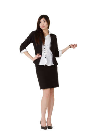 fascinating: Beautiful mature business woman of Asian, full length portrait isolated over white. Stock Photo