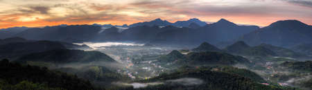 samll: Panoramic rural scenery sunrise with samll town in hill and forest, Taiwan, Asia.