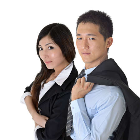 Asian business man and woman with confident expression over white.Focus on man. photo