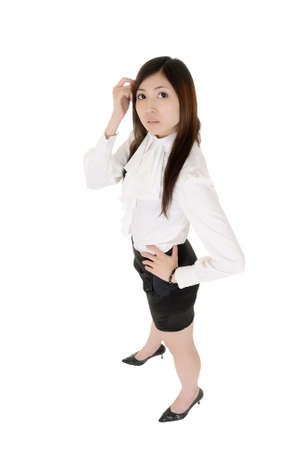 Modern business woman of Asian, full length portrait isolated over white. Stock Photo - 8355389