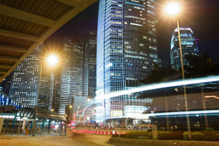 Night scene of buildings with light of cars motion blurred in Hong Kong, Asia. Stock Photo - 8355425