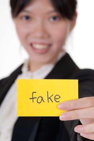spuria: Falso sul biglietto da visita azienda da businesswoman asiatiche.