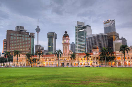 sultan: Malaysia city skyline with famous buildings, towers and skyscraper in Kuala Lumpur, Asia.