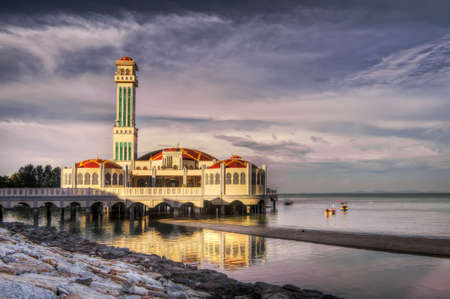 floating bridge: Landscape of floating mosque of Tanjung Bungah in Penang, Malaysia, Asia. Stock Photo