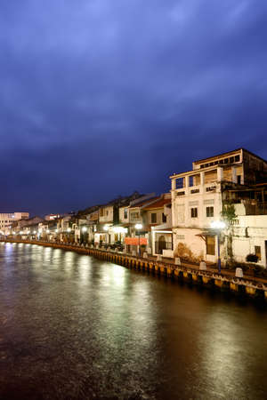 dwell: City night scene with serenity in Malacca, Malaysia, Asia.