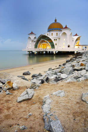 Mosque on water in Malacca, Malaysia, Asia. photo