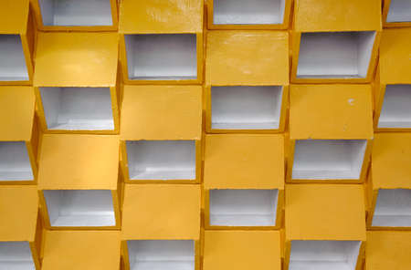 Yellow grid background with white color in wall. Stock Photo - 8703427