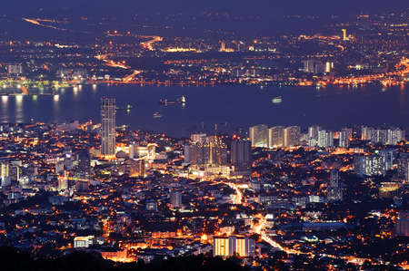 penang: Cityscape of colorful night scene with river in Penang, Malaysia, Asia.