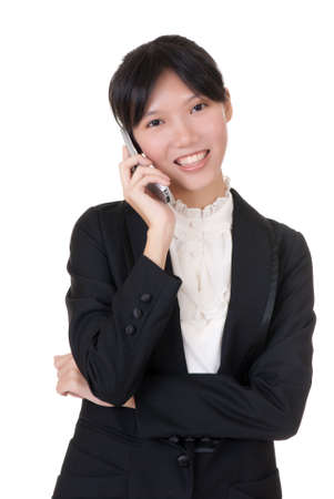 Young business woman using cellphone with happy smiling face over white background. photo