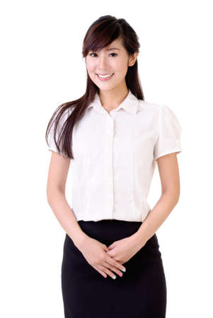 woman black background: Portrait of Asian business woman with smiling expression over white background. Stock Photo