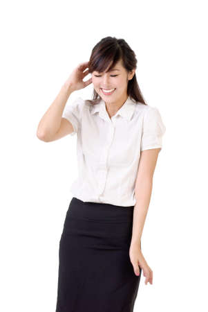 blush: Smiling business woman with blush expression over white background.