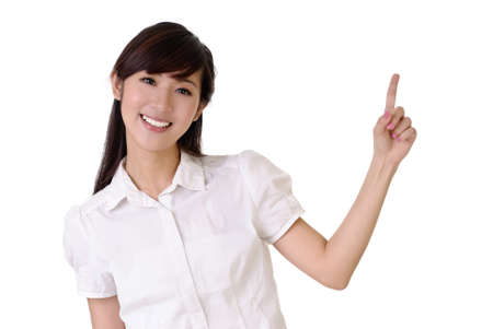 asian office lady: Smiling business woman rise hand and pointing copyspace of white. Stock Photo