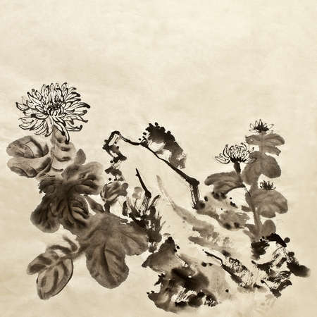 Chinese traditional painting of garden with chrysanthemum flowers on art paper. photo