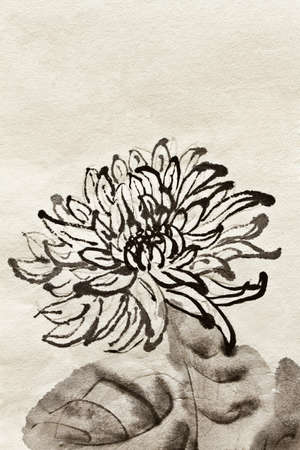 yellow china: Artwork of Chinese traditional painting of single flower, chrysanthemum on art paper. Stock Photo
