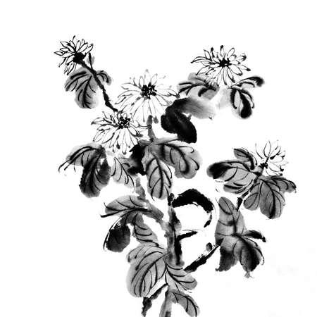 흰색 배경에 중국 전통적인 스타일으로 페인팅 꽃.