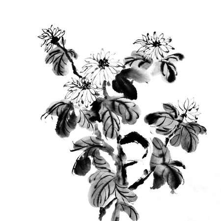 chinese painting: Flowers of painting in Chinese traditional style on white background. Stock Photo